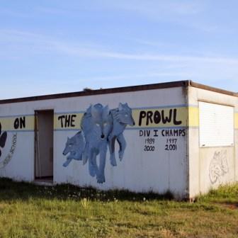 """""""Wolfpack on the prowl"""" bedeutet so viel wie """"Herumschleichendes Wolfspack"""" und war wohl früher die ziemlich erfolgreiche Football-Mannschaft."""
