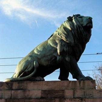 Einer der vier stolzen Löwen auf der Luitpoldbrücke