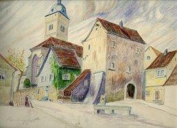 Der Kirchplatz in Heidingsfeld in einem Bild von Fritz Rambs aus dem Jahr 1916.