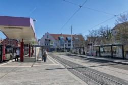 Straßenbahnhaltestelle Reuterstraße nach dem großen Umbau