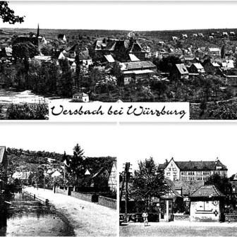 Historische Postkarte aus Versbach aus dem Jahr 1950.