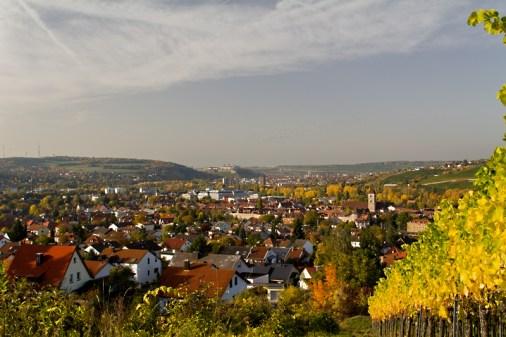 Blick von den herbstlichen Weinbergen am Katzenberg über Heidingsfeld nach Würzburg.
