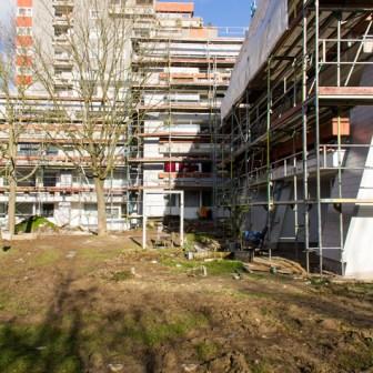 Die teilweise verwilderten Grünanalgen und zu hoch gewachsenen Bäume wurden bei der Renovierung entfernt.