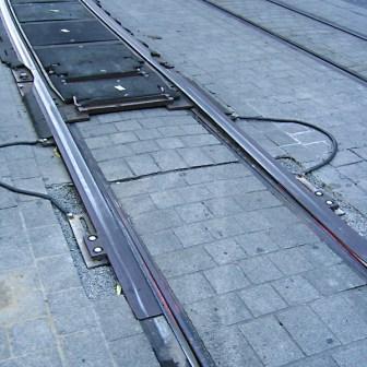 Kletterweiche während der Bauarbeiten in der Würzburger Innenstadt im August 2006.