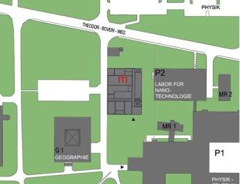 Der Lageplan vom Hubland-Campus zeigt, wo das geplante Institut für topologische Isolatoren (ITI) gebaut werden soll. (Bild: Universität Würzburg)