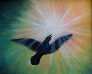 Raven Steals the Light - copyright Bernadette Wulf