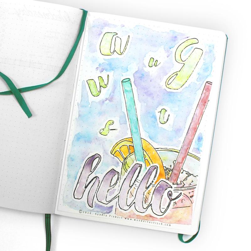 Hello August Water Color Bullet Journal   Wundertastisch