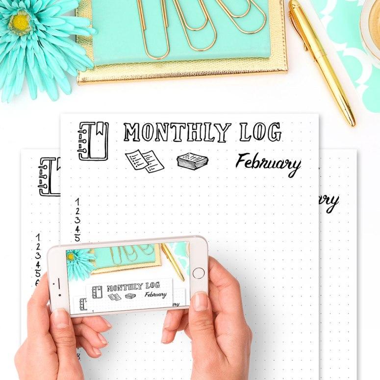 Free Bullet Journal Printables Kit • Monthly Log February 2017 - Wundertastisch Design