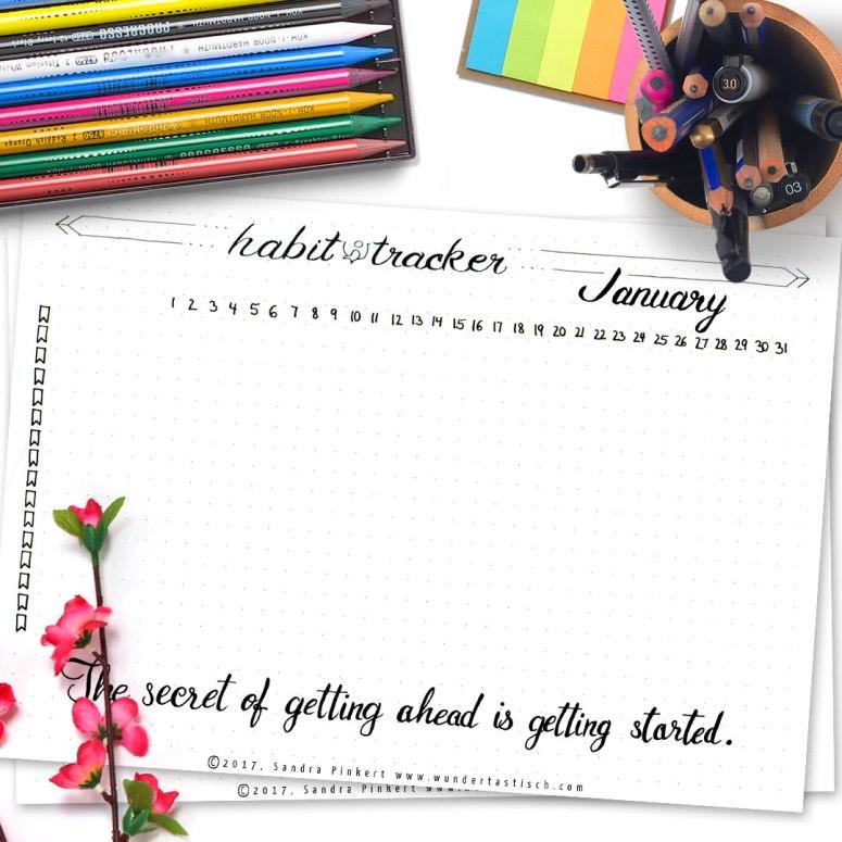 Free Bullet Journal Printable Kit • Habit Tracker January 2017 - Wundertastisch Design