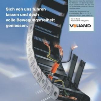 Handel: Fachzeitschriften-Inserat für Kabelführungsketten von Volland AG