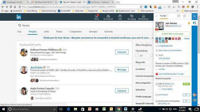 Nimble CRM Jon Ferrara Search Results