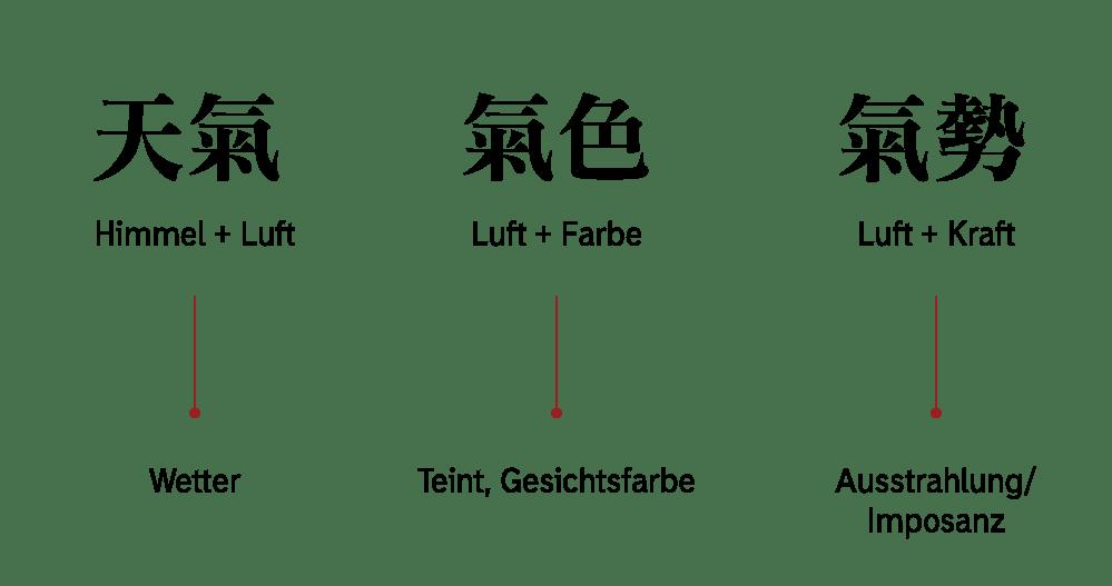 Kombinationen mit dem Schriftzeichen Qi