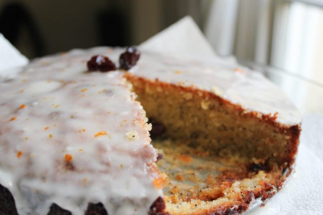 Sour Cherry and Poppy seed cake with orange blossom frosting