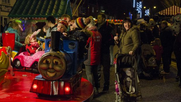 Family fun at the Christmas lights switch on event.