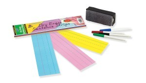 Dry Erase Sentence Strips 3x12 30 pack (assorted colors)