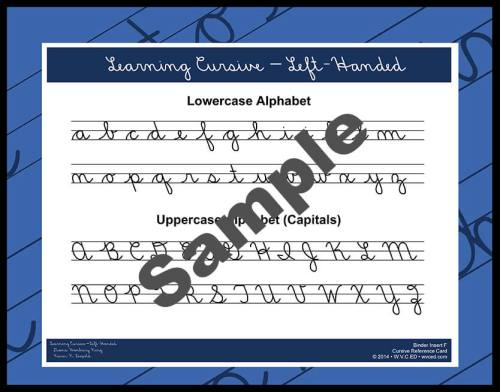 Learning Cursive – Left-Handed Reference Card