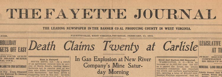 Headline of Fayette Journal Announcing Carlisle Disaster