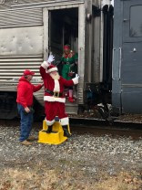 Santa & Mrs. Claus visited the Village of Warwick on a brisk Sun., Dec. 1 morning, via train to collect toys for the Marine Corps Reserve Toys for Tots Foundation. Photo credit: Warwick Valley Dispatch/Sara Paul