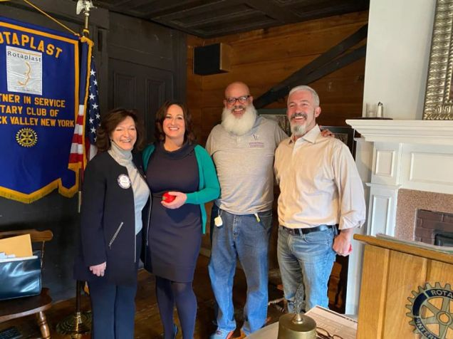 Shown in the photo (from left) are: Warwick Rotary President Tina Russo Buck, Borrazas, Rotarian Wayne Patterson & MacDonald. Photo provided