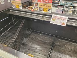 A photo of the frozen foods section at the Warwick ShopRite shows a freezer that was completely emptied of all frozen vegetables on Sat., Mar. 15. Photo credit: Warwick Valley Dispatch/Lourice Angie