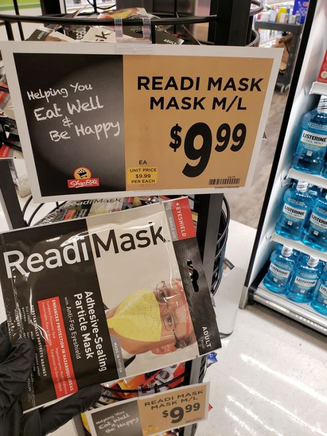 Readi Masks are being sold at the Warwick ShopRite after fears of the Coronavirus spread through the Warwick Community. Photo credit: Warwick Valley Dispatch/Lourice Angie