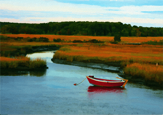 Red Boat in the Stream