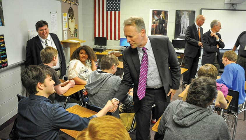 West Virginia Board of Education meeting high school students