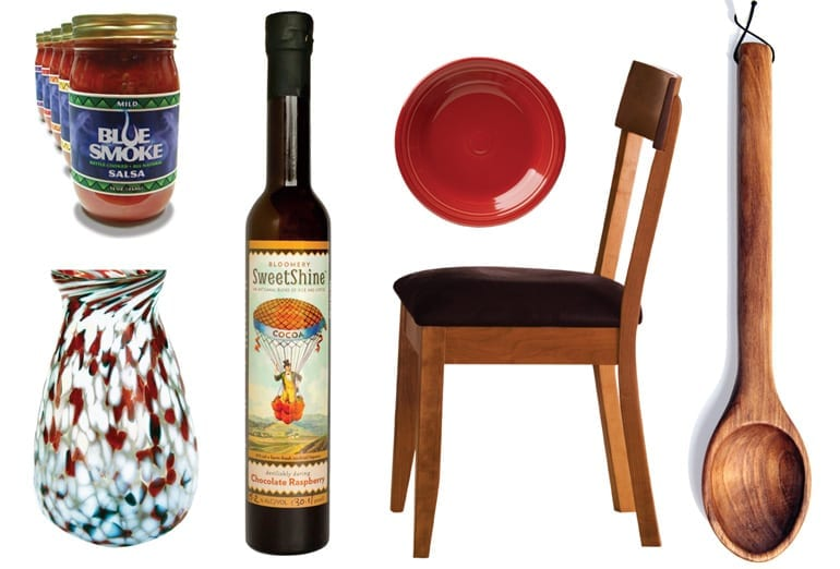 WV made products: Blue Smoke Salsa, glass blown vase, Bloomery SweetShine wine, ceramic plate, wooden chair, wooden spoon