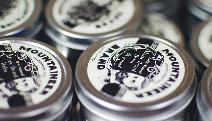 Mountaineer Brand balms lined up