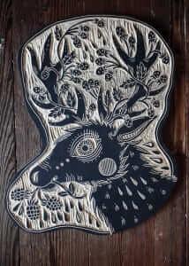 An art piece displaying a deer.