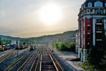 Train tracks and a brick building in West Virginia