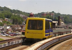 The PRT connects the WVU campuses and downtown.