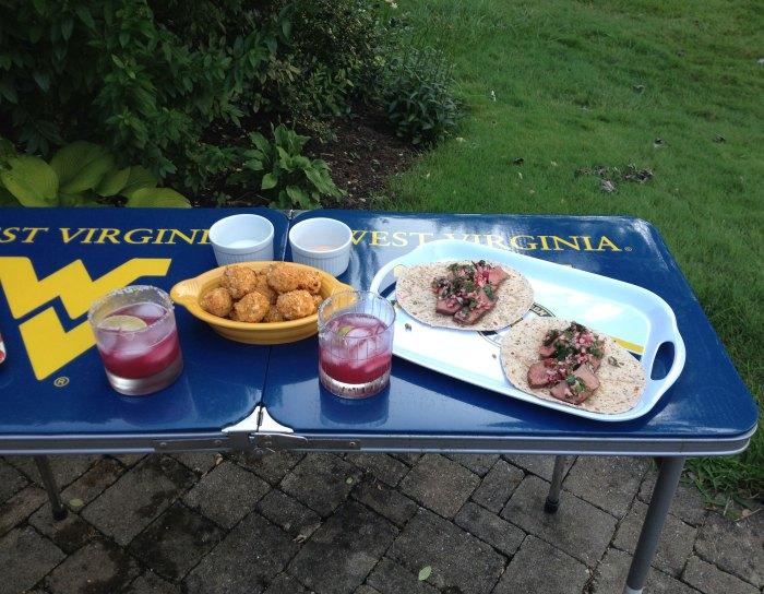 buffalo quinoa balls, Mountaineer margaritas and steak tacos