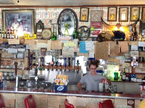 Eileen behind the bar at Mario's Fishbowl