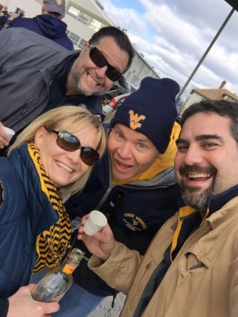 group-selfie WVU vs. Texas tailgate