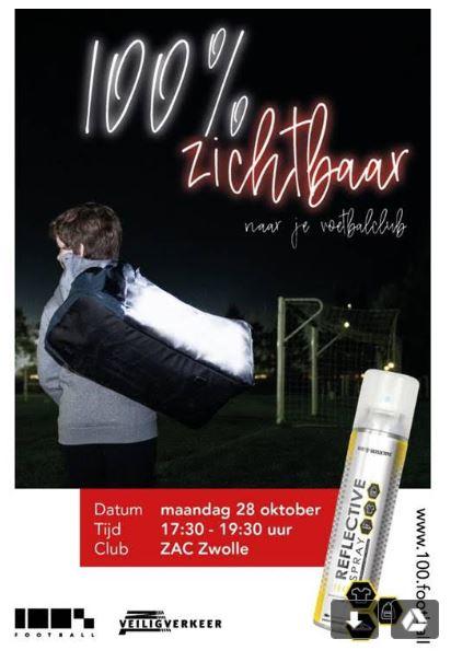 Fietsverlichtingsactie 100% zichtbaar bij voetbalvereniging Z.A.C. Zwolle Zuid op 28 oktober
