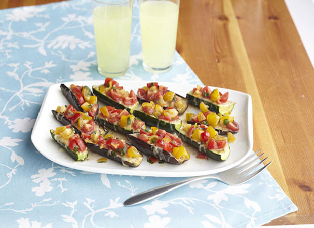 Weight Watchers Eggplant & Zucchini Bruschetta Boats Recipe