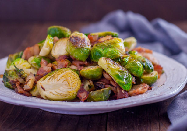 Weight Watchers Brussels Sprouts with Bacon and Onion Recipe
