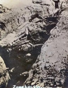 Dead soldiers in trenches near Zonnebeke
