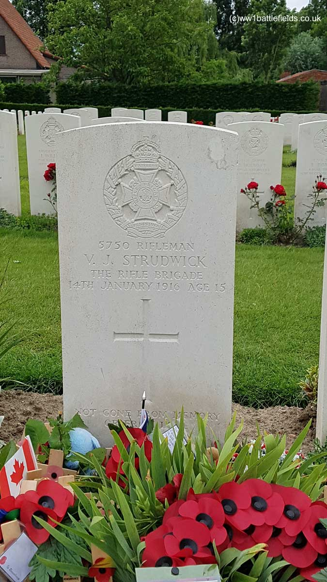 Essex Farm Cemetery: Grave of Joe Strudwick, aged 15