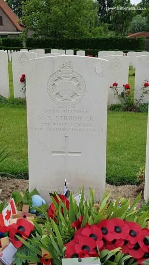 Essex Farm Cemetery: Grave of Joe Strudwick, aged 15