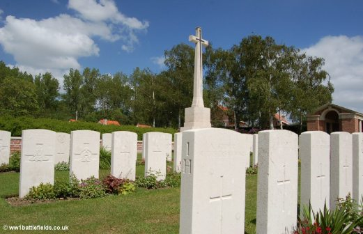 Plot 1 at Hooge Crater Cemetery today