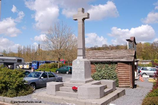 The Kings Royal Rifle Corps Memorial, now at the edge of a theme park car park