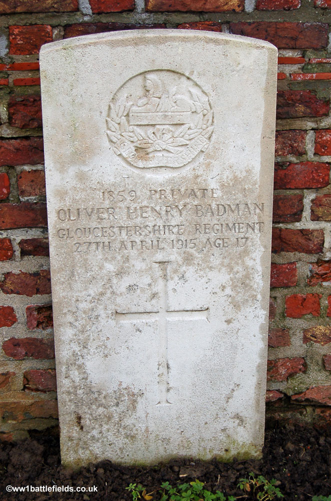 The grave of Private Oliver Badman