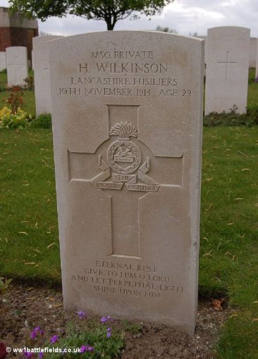 The grave of Private Harry Wilkinson at Prowse Point Cemetery