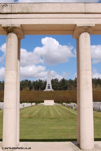View of the cemetery and Australian Memorial from the New Zealand Memorial to the Missing