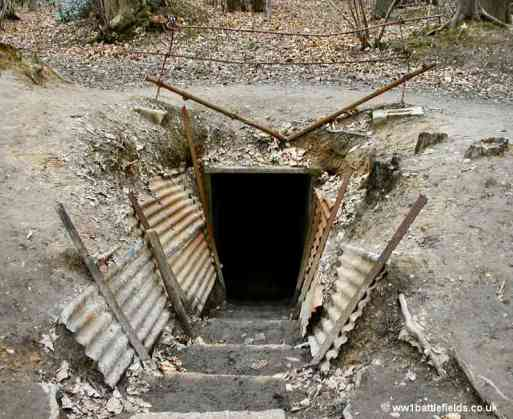 Entrance to a dug-out at Sanctuary Wood