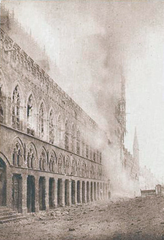 Ypres Cloth Hall ablaze, November 1914