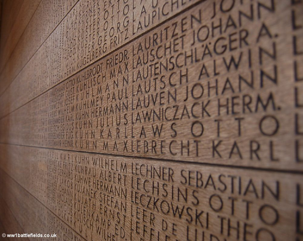 List of names at Langemark German Cemetery