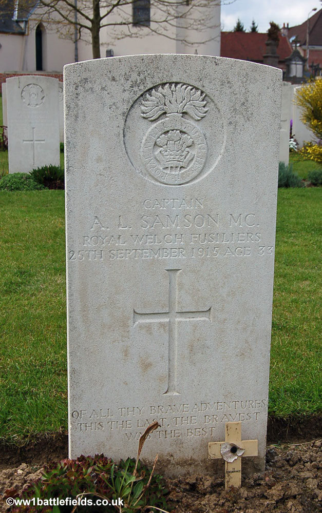 The grave of Captain Arthur Samson at Cambrin